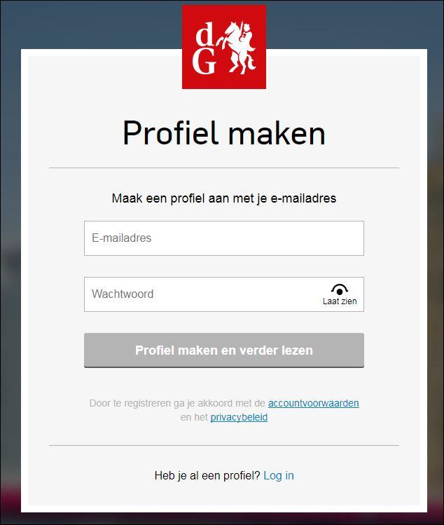 f21404574db441 Stap 3  U ontvangt dan een e-mail om uw profiel te activeren door te  klikken op een link in deze e-mail. Vervolgens ziet u onderstaand scherm.